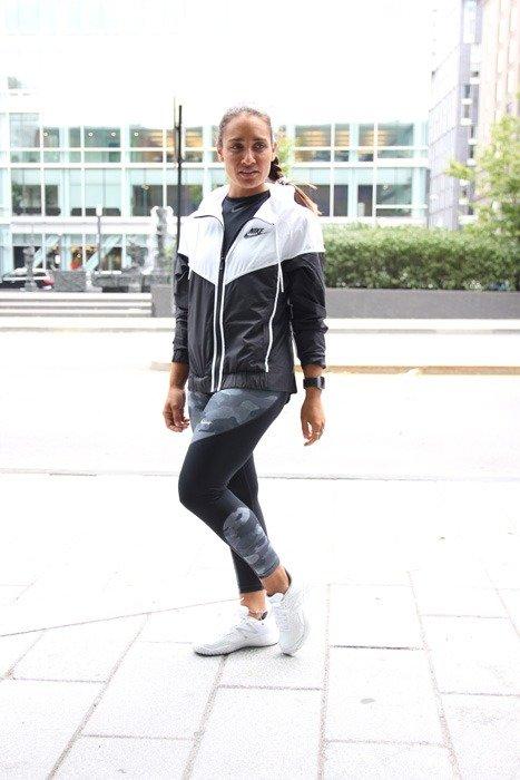 Camille DG wearing retro athleisure gear