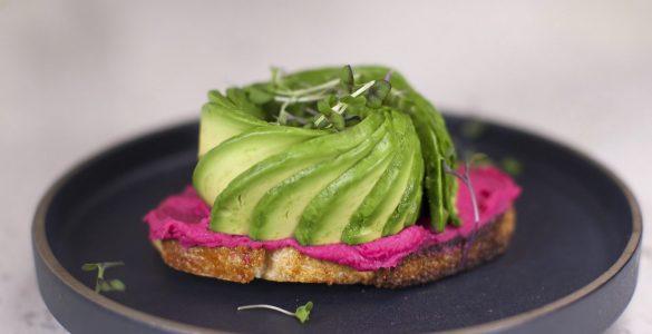 Avocado Toast with Beet Hummus